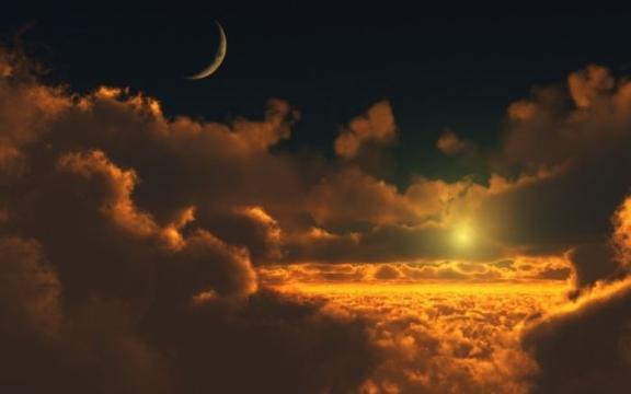 Moon & Brilliant Sunset