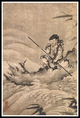 Chinese Scroll - Man on Raft